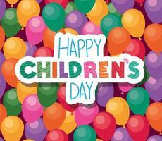 glücklicher Kindertag auf Ballonhintergrundvektorentwurf vektor