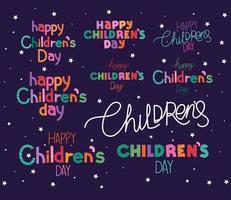 glückliches Kindertag-Beschriftungsset-Vektordesign vektor