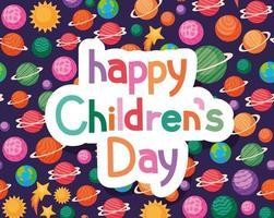 glücklicher Kindertag mit Raumikonenhintergrundvektorentwurf vektor
