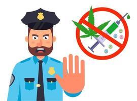 Verbot des Drogenkonsums. Die Polizei hält an, um nach Drogen zu suchen. flache Zeichenvektorillustration lokalisiert auf weißem Hintergrund. vektor