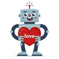 süßer Roboter gibt Valentinstag. Liebeserklärung. künstliche Intelligenz. Beziehung in der Zukunft. flache Zeichenvektorillustration vektor