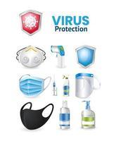 covid 19 Virenschutz-Symbolsatz vektor