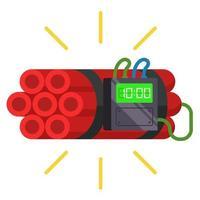 Dynamit-Sticks mit einem Timer. hausgemachte Bombe. flache Vektorillustration.