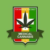 emblem för medicinsk marijuana. rastaman flagga. platt vektorillustration