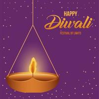 lyckligt diwali hängande ljus på lila bakgrundsvektordesign vektor