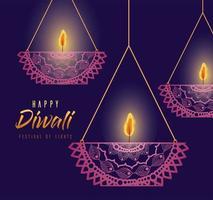 glückliche diwali hängende mandalas kerzen auf lila hintergrundvektordesign vektor