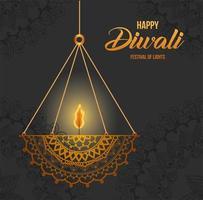 glad diwali hängande mandala ljus på grå bakgrundsvektordesign