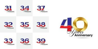 Set 31, 32, 33, 34, 35, 36, 37, 38, 39, 40 Jahre Jubiläumsfeier Zahlen gesetzt vektor
