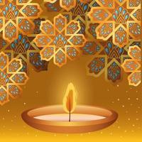 glückliche Diwali-Kerze und Goldblumen auf gelbem Hintergrundvektorentwurf vektor