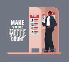 Afro-Mann am Wahlstand mit machen Sie Ihre Stimme zählen Text Vektor-Design vektor