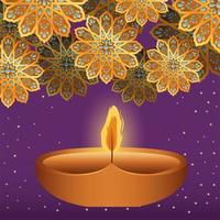 glückliche Diwali Kerze und Goldblumen auf lila Hintergrundvektorentwurf vektor