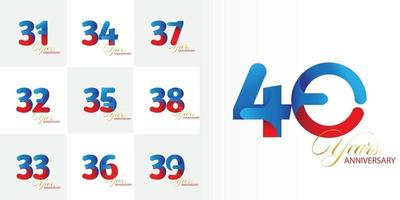 Set 31, 32, 33, 34, 35, 36, 37, 38, 39, 40 Jahre Jubiläumsfeier Set vektor