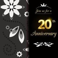 20 Jahre Jubiläum Vorlage Design Illustration vektor