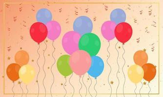 flache Luftballons Dekoration mit Konfetti vektor