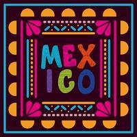 Mexiko Schriftzug in einem bunten Rahmen vektor