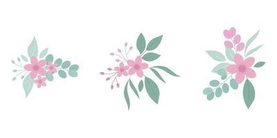 Satz flache Blumenstraußblumen vektor