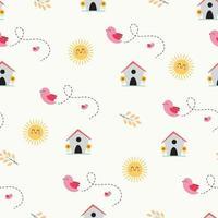 nahtloses Muster mit niedlichen Vögeln, Vogelhaus und Sonne vektor