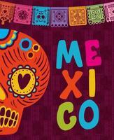 mexikanischer Schädel mit buntem Wimpel vektor