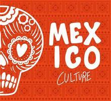Mexiko-Kulturbeschriftung mit Schädelvektorentwurf vektor