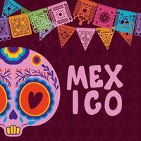 mexikanischer Schädel mit buntem Wimpel auf lila Hintergrundvektorentwurf vektor