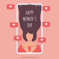 Frau auf Handy mit Liebeszeichen, glücklicher Frauentag vektor