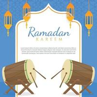 flache Design-Begrüßung Ramadan Kareem vektor