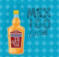 Mexiko-Kulturbeschriftung mit Tequila-Flaschenvektorentwurf vektor