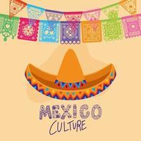 Mexiko-Kulturbeschriftung mit Sombrero-Hutvektorentwurf vektor