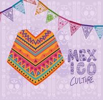 Mexiko-Kulturbeschriftung mit Poncho-Vektorentwurf vektor