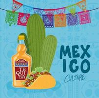 mexikanische Kulturbeschriftung mit Tequila-Flasche, Taco und Kaktus vektor