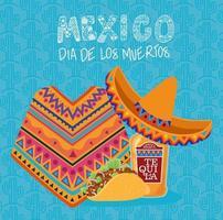 poncho, sombrero hatt, tequila och taco för dia de los muertos firande vektor
