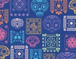 mexikanischer blauer Hintergrund mit Schädeln und Blumenvektorentwurf vektor