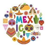 mexikansk ikonuppsättning vektor