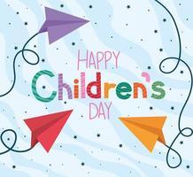 glücklicher Kindertag mit Papierflugzeugvektorentwurf vektor