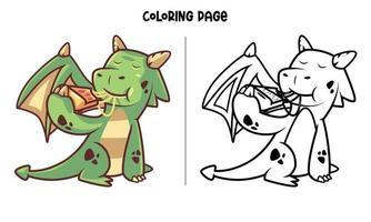 söt grön drake som äter pizza målarbok vektor