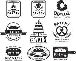 bageri butik logotyp set vektor