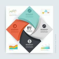 Design-Vorlage für Geschäftsinfografiken. Vektorillustration. Kann für Workflow-Layout, Diagramm, Nummernoptionen, Startoptionen und Webdesign verwendet werden vektor