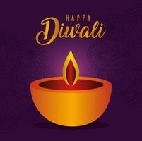 glückliche Diwali-Kerze auf einem Mandala-Hintergrund vektor