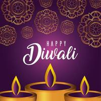 glückliche Diwali-Kerzen auf einem Mandala-Hintergrund vektor