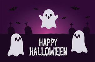 halloween spöken med fladdermöss på kyrkogårdens vektordesign vektor