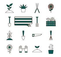 trädgårdsskötsel Ikonuppsättning