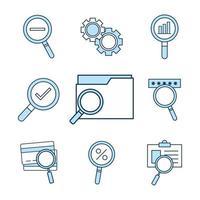 sök ikonuppsättning vektor