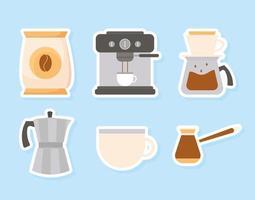 kaffe metod ikonuppsättning vektor