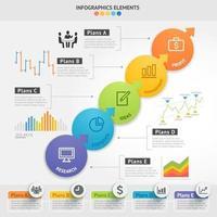 Design-Vorlage für Geschäftsinfografiken. Vektorillustration. kann für Workflow-Layout, Diagramm, Nummernoptionen, Startoptionen und Webdesigns verwendet werden. vektor