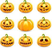 halloween pumpor samling. vektor illustration.