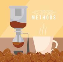 kaffemetoder med sifon, maskin, kopp och bönor vektordesign vektor
