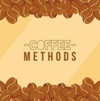 Kaffeemethoden mit Bohnenrahmenvektorentwurf vektor