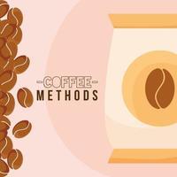 Kaffeemethoden mit Sitzsackvektorentwurf vektor