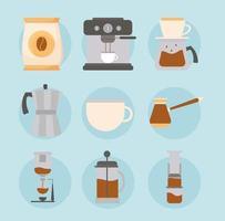 kaffe metoder Ikonuppsättning vektor
