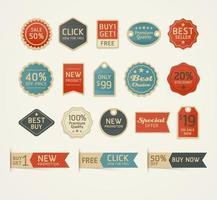 Satz Retro Vintage Abzeichen und Etiketten Design. Vektorillustration. vektor